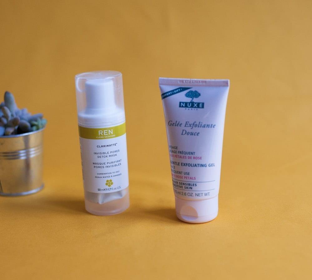 Masque REN skincare et gelée exfoliante nuxe