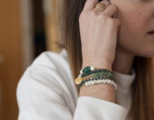 DIY : Bracelets arm candy vert, blanc et doré