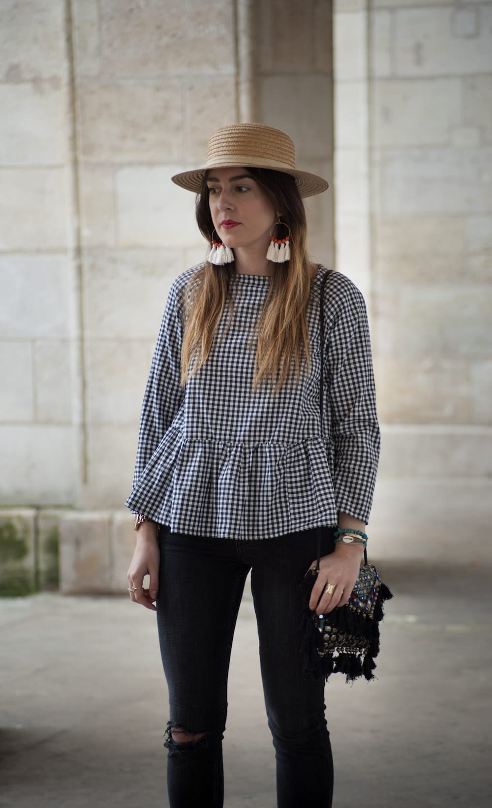 couture blouse vichy peplum