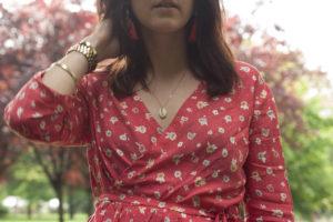 Couture : blouse cache cœur rouge