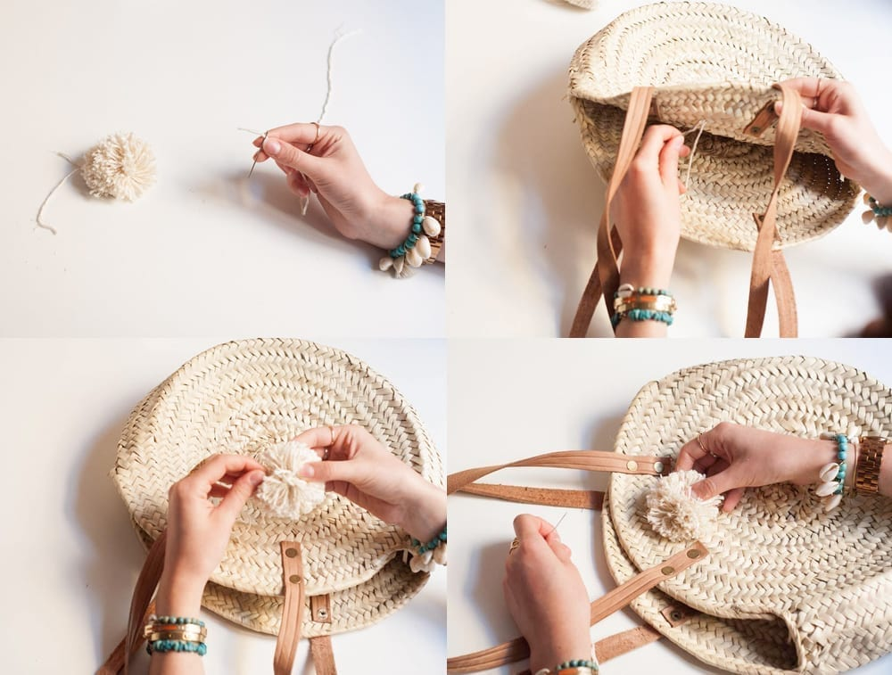 diy panier pompons en laine fait main cha 39 s hands. Black Bedroom Furniture Sets. Home Design Ideas