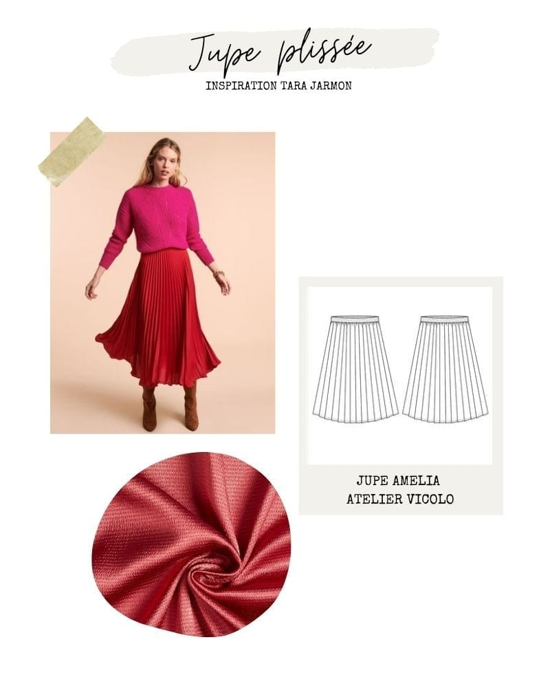 Jupe plisée rouge - Amelia d'Atelier Vicolo