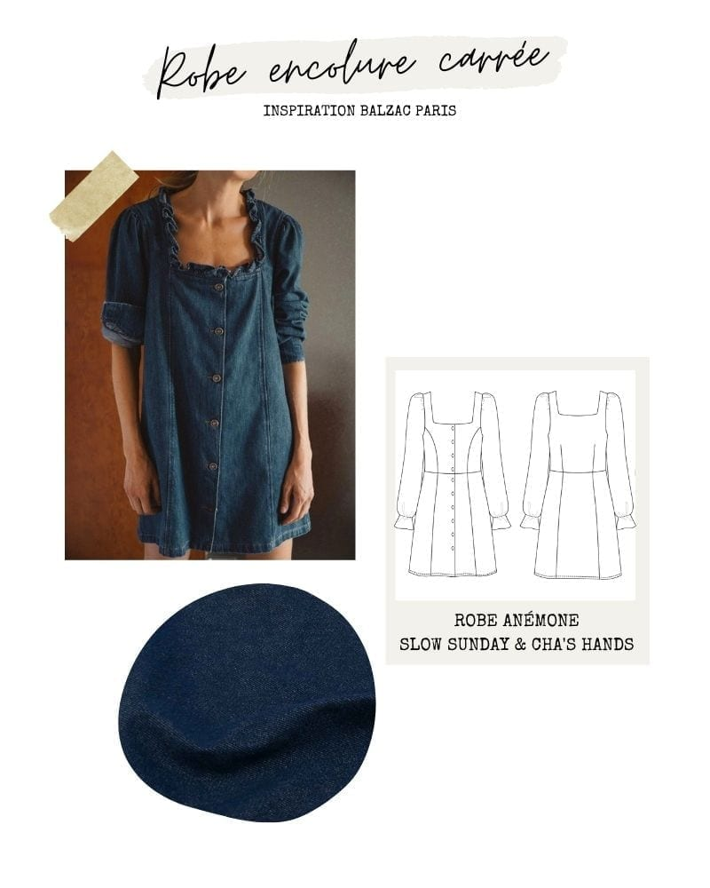 Robe jean encolure carrée - Anémone Slow Sunday x Cha's Hands