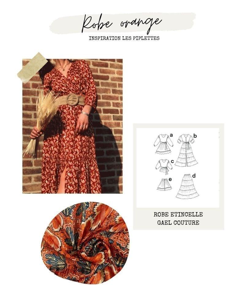 Robe bohème orange - Etincelle de Gael Atelier Couture