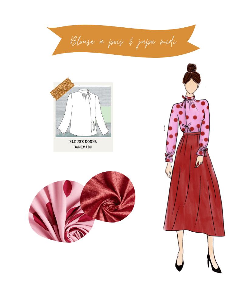 Tenue de fêtes : blouse Donna de Camimade et jupe satinée