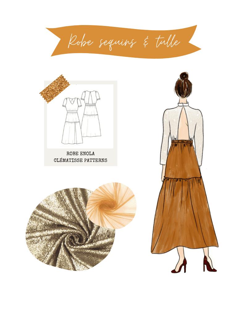 Look de fêtes : robe Enola de Clématisse Patterns