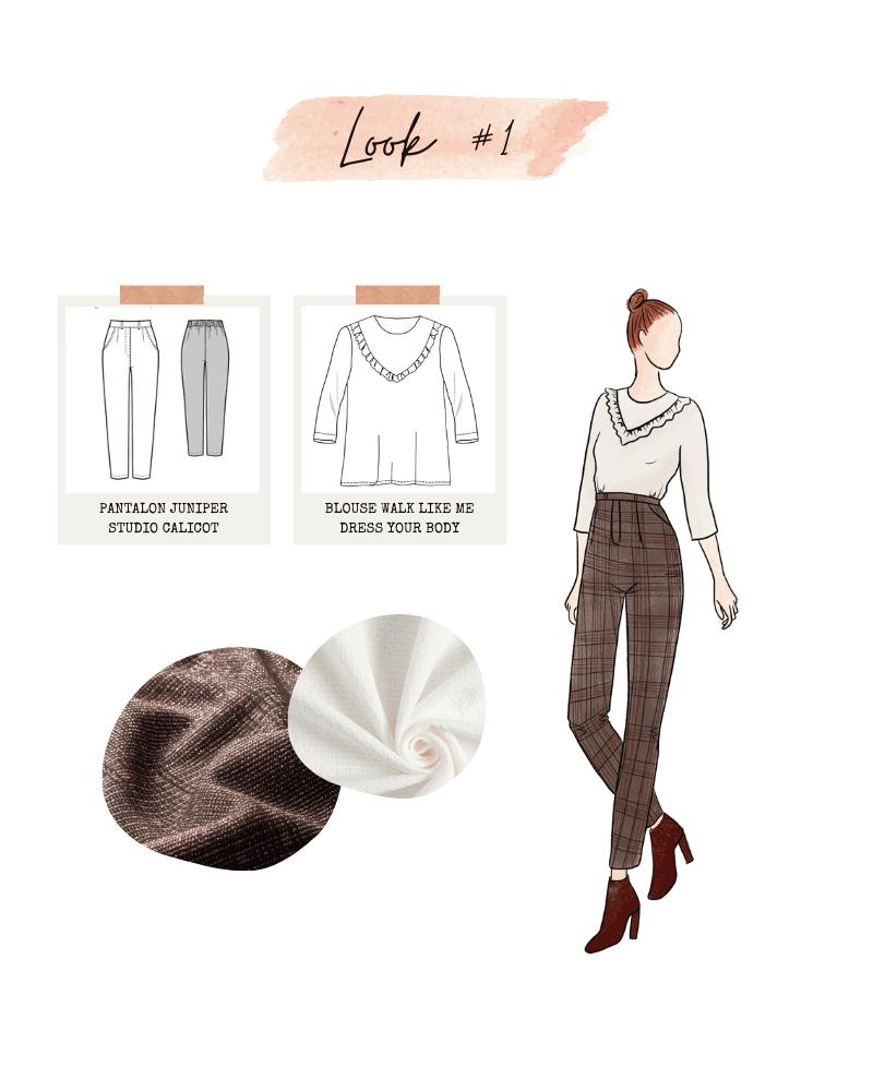 Look 1 : Pantalon Viktor de Lenaline Patterns et blouse Walk Like Me de Dress Your Body