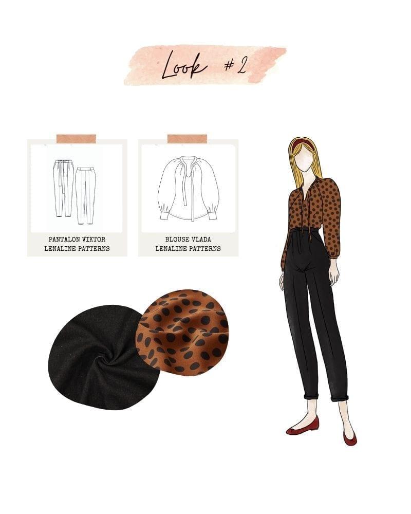 Look 2 : Pantalon Viktor et blouse Vlada de Lenaline Patterns