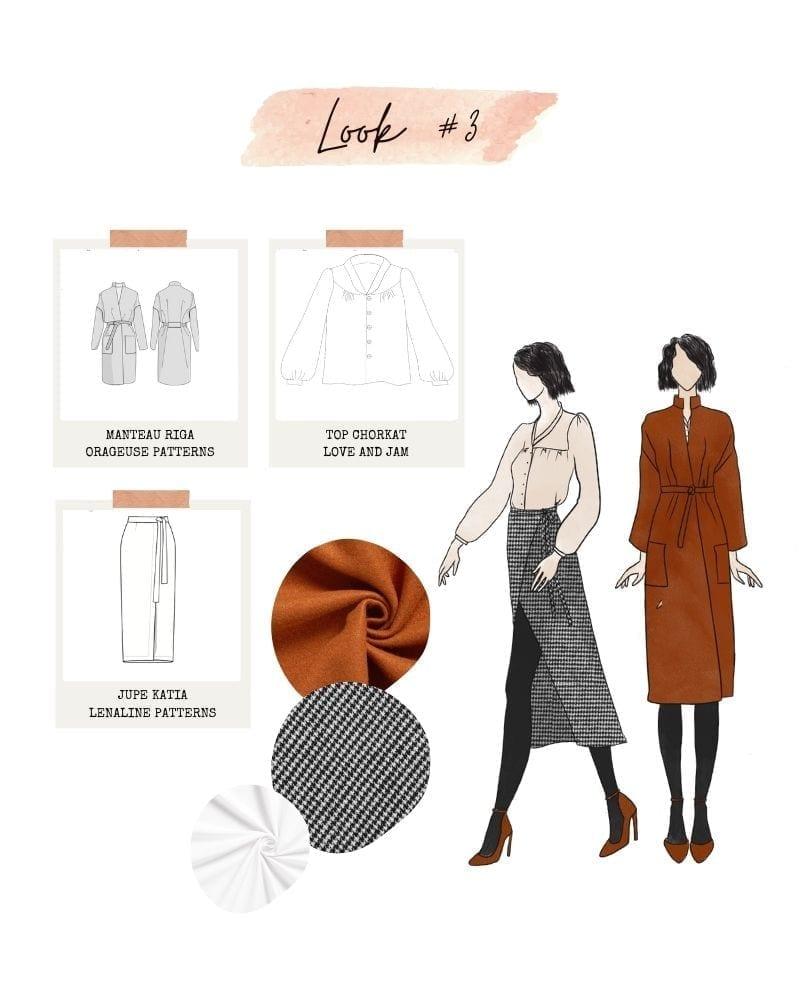 Look 3 : Top Chorkat, jupe Katia et manteau Riga