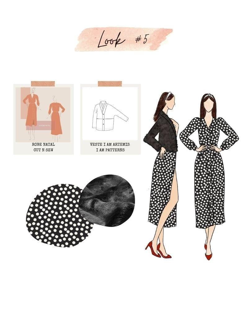 Look 5 : Robe Natal de Cut N Sew et veste Iam Artemis de I am Patterns