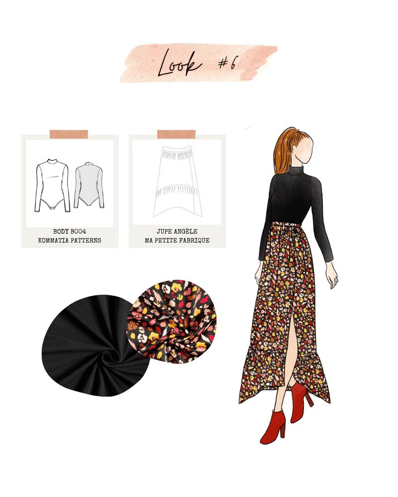Look 6 : Body de Kommatia Patterns et jupe Angèle de Ma Petite Fabrique