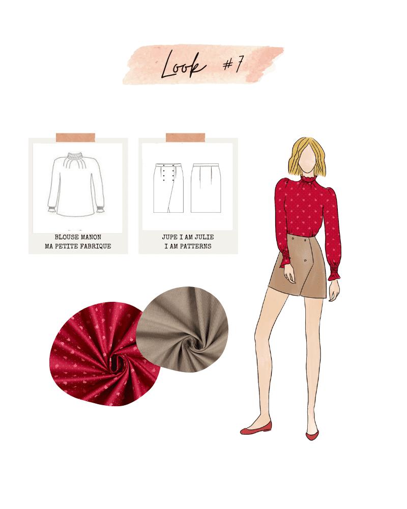 Look #7 : jupe Iam Julie de I am Patterns et blouse Manon de Ma Petite Fabrique