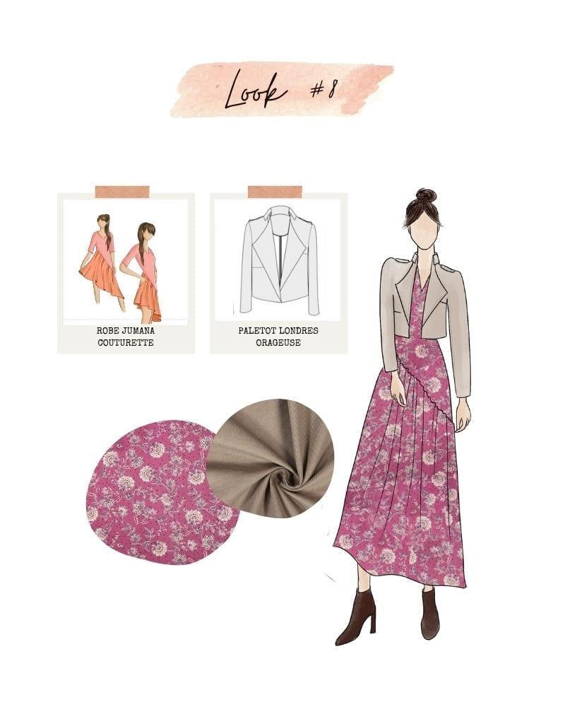 Look 8 : robe Jumana de Couturette et paletot Londres d'Orageuse