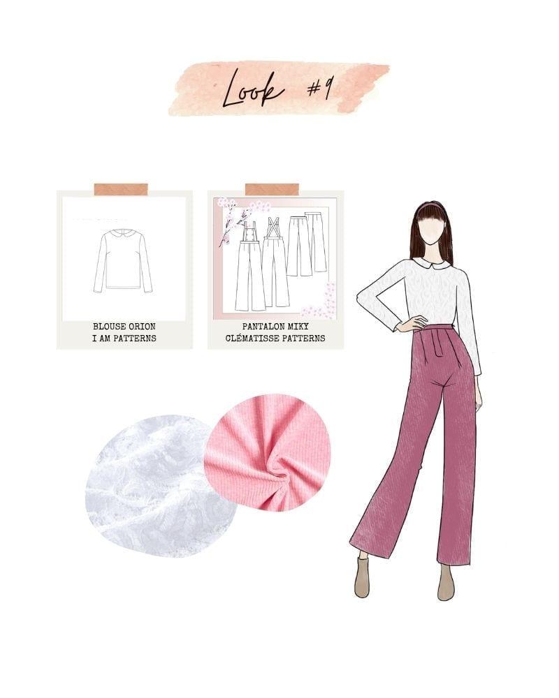 Look 9 : pantalon Miky de Clématisse Patterns et blouse Orion de I am Patterns