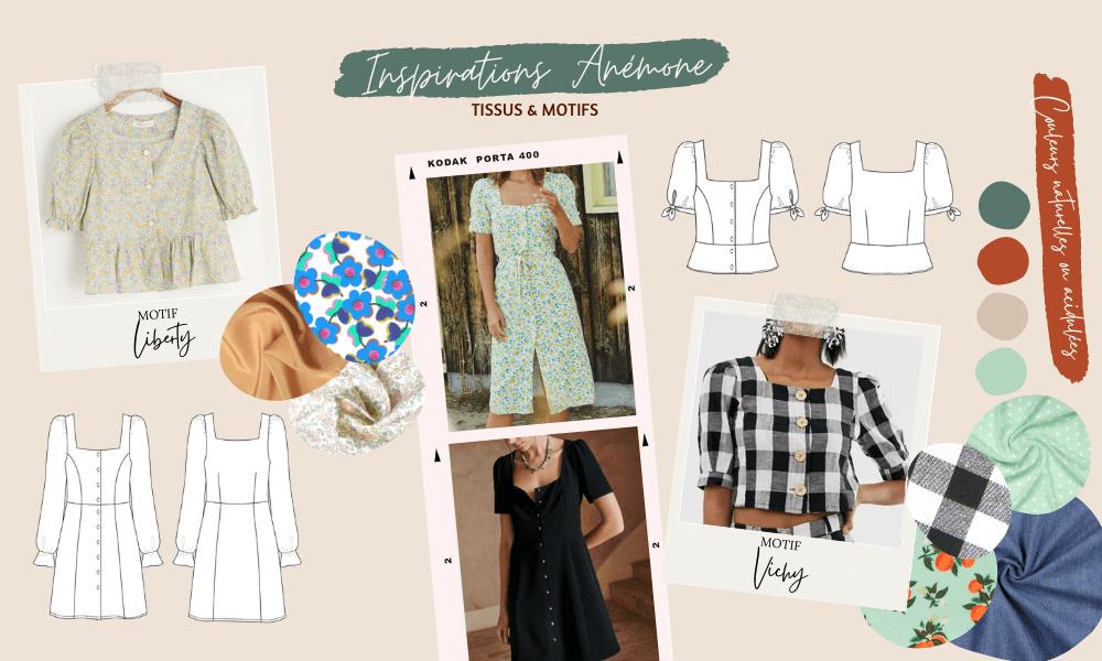 Coudre la blouse ou la robe Anémone, inspirations tissus et motifs