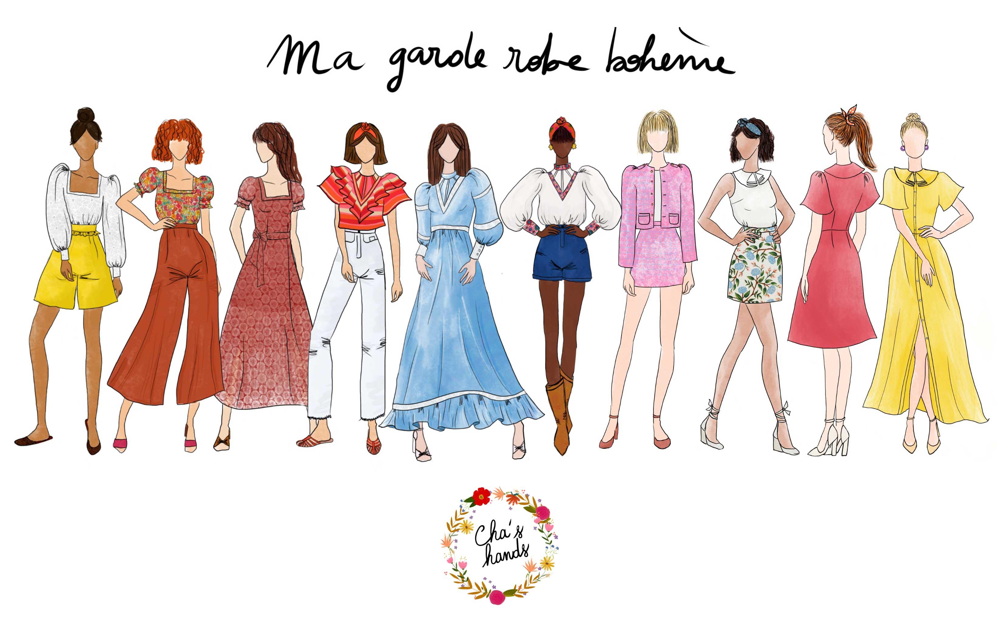 "Silhouettes livre ""Ma garde-robe bohème"""