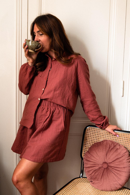 Coudre un pyjama en double gaze pour Octobre Rose